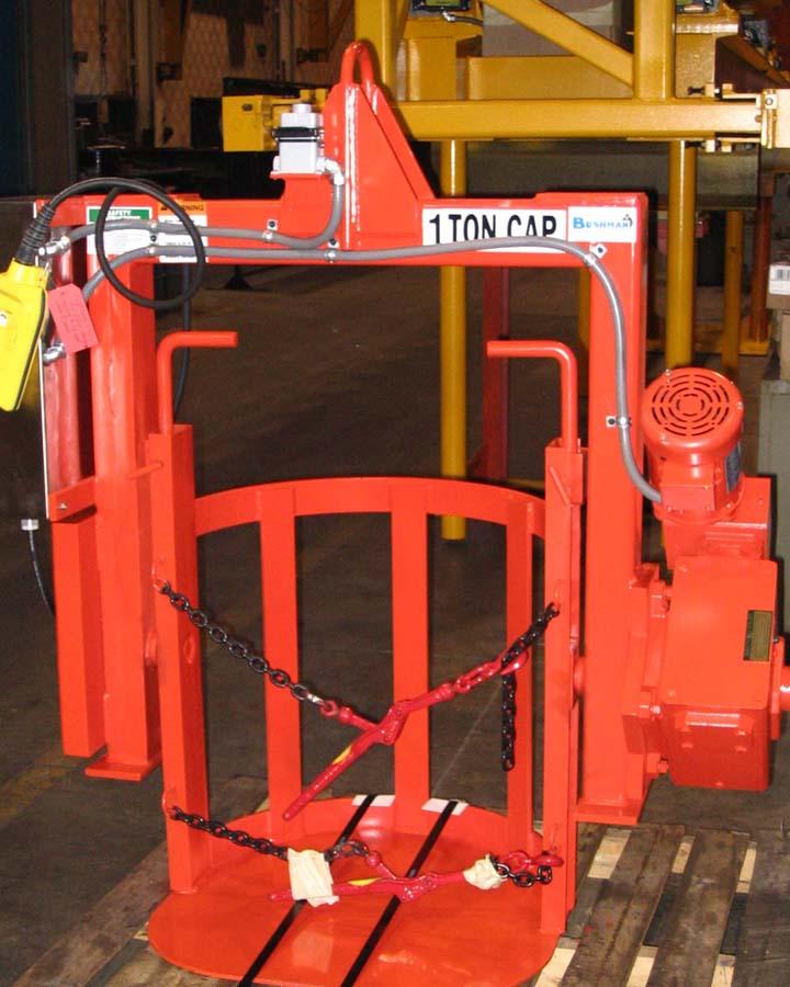 Drum tilter drum handling equipment for Motorized rotating crane hook