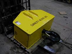 Power-rotating hook block or crane block