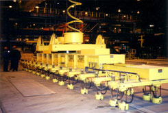 spreader beam, lifting beam, magnet beam, lifting device, plate handling magnet beam