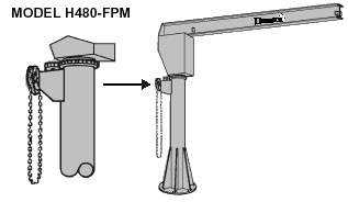 jib crane with hand geared rotation