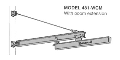 jib cranes, jib crane attachments, motorized jib crane, wall mounted jib crane with boom extension
