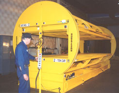 load inverters, material handling inverters, hydraulic barrel inverter, sometimes called a flipper or flopper or turner