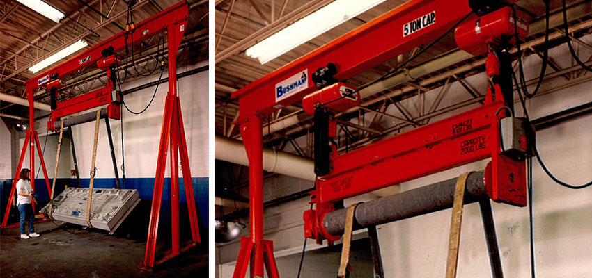 Bushman Equipment designs and manufactures mobile gantry cranes for industrial applications where overhead cranes are not available