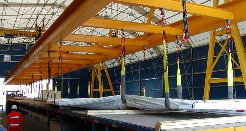 extra long spreader beam for material handling for wind energy equipment