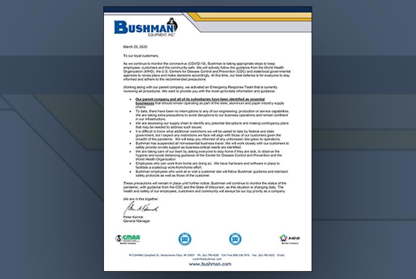 bushman equipment covid 19 update